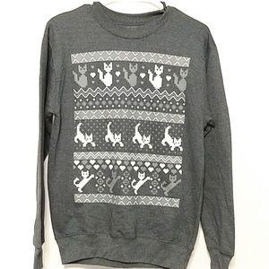 Black Matter Small kitten sweatshirt gray white
